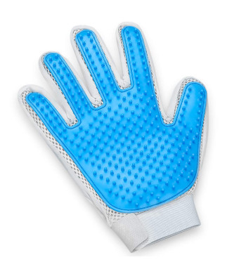 Pet Hair Remover Glove - Gentle Pet Grooming Glove Brush - Efficient Deshedding Glove - Massage Mitt with Enhanced Five Finger Design - Perfect for Dogs and Cats with Long and Short Fur - 1 Pack