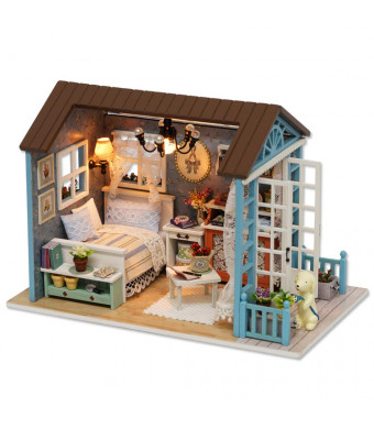 Spilay DIY Miniature Dollhouse Wooden Furniture Kit,Handmade Mini Retro Style Home Model with Dust Cover and Music Box ,1:24 Scale Creative Doll House Toys Forest Time Z07