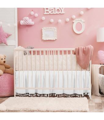 "White Crib Bed Skirt Dust Ruffle with Tassel Trim Nursery Crib Bedding Skirt for Baby Boys and Girls,15""Drop"