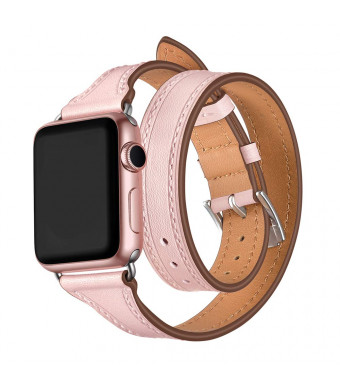 WAfeel Smart Watch Band Compatible for Apple Watch Series 3/2/1 Genuine Leather iwatch Strap 38mm Double Tour T-Shape Designed Thread Slim with Metal Clasp Replacement Bracelet (Pink 38mm)