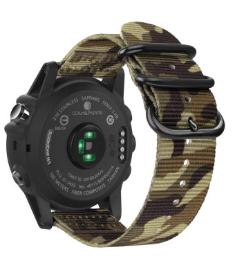 Fintie Band for Garmin Fenix 5X Plus/Fenix 3 HR Watch, 26mm Premium Woven Nylon Bands Adjustable Replacement Strap for Fenix 5X/5X Plus/3/3 HR Smartwatch - Camo Green