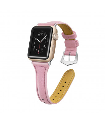 Censha for Apple Watch Band 38mm 42mm,Women Genuine Leather Replacement Strap Bands for iWatch Apple Watch Series 3/2/1 (Pink 38mm)