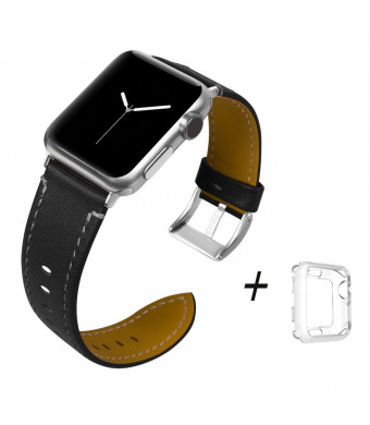 Trcode Women Leather Bands 38mm for Apple Watch with Stainless Steel Buckle Replacement for Apple Watch Band for iPhone iWatch Nike+, Series 3, Series 2, Series 1, Edition (Black)