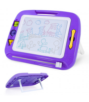 SGILE Magnetic Drawing Board Toy, 16.3X12.8 Magna Doodles with Foldable Stand Foothold 3 Stamps, Non-Toxic Doodles Board for Painting Writing Toddlers Preschooler Learning Development, Purple