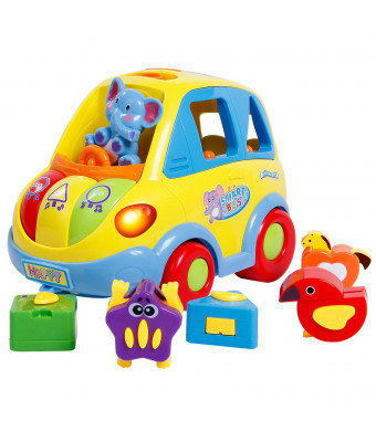 SGILE Musical Car Toy for Toddlers, Happy Elephant Educational Car Toy with Transforming Animal Block Shapes and Various Sounds and Omni-Directional Wheel
