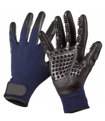 KronStar Pet Grooming Gloves - Left and Right - Premium Five Finger Design - for Cats, Dogs and Horses