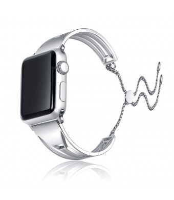 AsiaFly Compatible with Apple Watch Band 42mm 44mm, Adjustable Stainless Steel Jewelry Hollow Hoop Geometry Bracelet Bangle Strap Cuff Band Replacement for Apple Watch Series 4/3/2/1 - Silver