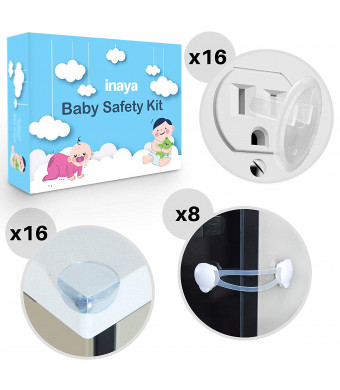 3-in-1 Baby Proofing Set - 8 Cabinet Safety Locks, 16 Corner Guards, 16 Outlet Covers - Accident Proof Devices to Keep Your Child Safe at Home - Inaya