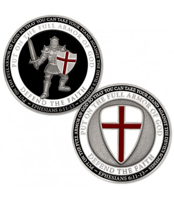 """Put On The Full Armor of God""""Defend The Faith"""" Challenge Coin"""