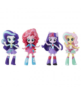 My Little Pony Twilight Sparkle, Pinkie Pie, Rarity and Fluttershy Toys - Equestria Girls 4.5-Inch Mini-Dolls, Ages 5 and Up