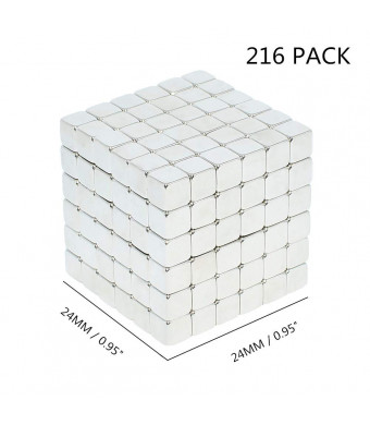 HMME 216 Magic Cube Build Magnets Miniature Dice Magnet Bulk Stress Toy for Stress Relief and Creativity Boost Fidget Puzzles for Adults Magic Puzzle Desk Finger Toy Kit, Good as Gift (CUBE4)