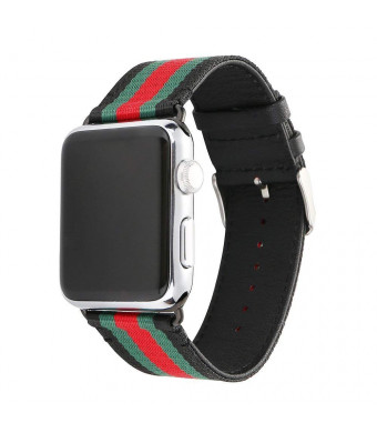 U191U Sport Band Compatible with Apple Watch, Smart Watch Strap Elegant Nylon and Genuine Leather Wristband with Metal Adapter Clasp| Fancy for iWatch Strap for Men and Women (Red/Green/Black, 42MM)