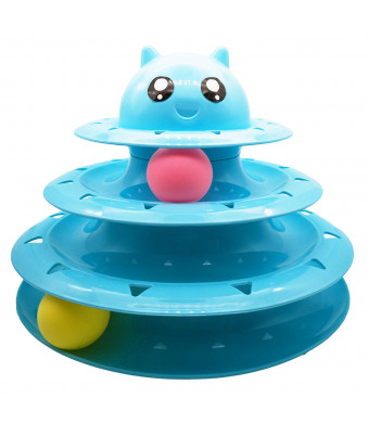 Vealind Pet Interactive Fun Roller Exerciser 3 Level Tower of Tracks Cat Teaser Ball Toy