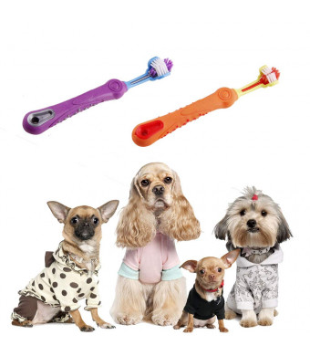 voguetu Dog Toothbrush, Dog Dental Care, Cleaning Tartar, Reducing The Accumulation of Plaque, Soft Bristles on Three Sides, Easy to Grasp with Large Handle