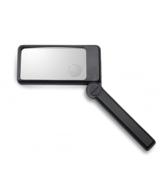Large Magnifying Glass with Light: Handheld LED Magnifier with 2X and 6X Lens, Magnifier for Reading, Close work, Computer Repair, Maps, Jewelry, Rectangular Large Magnifying Glass with Soft Pouch