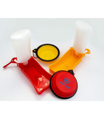 Woof Woof Dog Water  Bonus Collapsible Bowl Free Bottle/Dispenser Foldable Portable Walking, Hiking, Playing in The Park, Traveling. Parched Pooch. Convenient and pet Safe. Keep Your pup hydrated