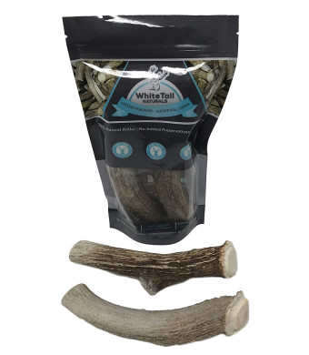 WhiteTail Naturals Premium Extra Large Deer Antlers for Dogs - (2 Pack X Large) - All Natural Dog Chews - 7 to 8 Inch Long - Extra Large Antler Bully Chew