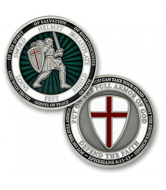 Female Put On The Full Armor Of God Defend The Faith Challenge Coin