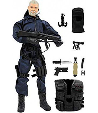 """Click N' Play CNP30404 Police Unit Swat Assaulter 12"""" Action Figure Play Set with Accessories, Brown/A"""
