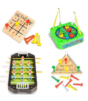 ArtCreativity Travel Road Trip Games for Kids and Adults (4 Pieces) | Set Includes Mini Tic-Tac-Toe, Triangle Game, Soccer Table, and Fishing Game | Fun Car/ Airplane Traveling Games Kit