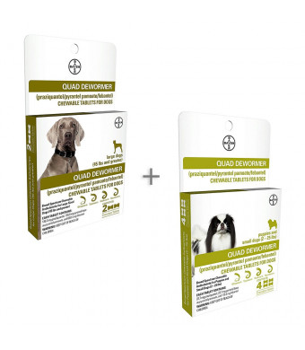 Bundle Bayer Quad Chewable Dewormer for Large Dogs, 45 lb and Over, 2 doses, 136 mg Each and Small Dogs and Puppies, 2-25 lb, 4 doses, 22.7 mg Each - Single Pack Each