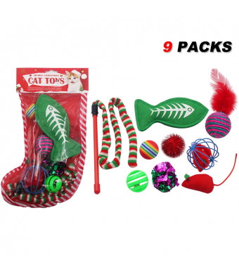 SCIROKKO Cat Toys Set Pet Puppy Kitten Holiday Toys Variety Pack(9 Pieces) - Includes Jingle Toy,Mice Ball,Catnip Fish,Feather Ball,Mylar Crinkle Ball,Cat Teaser Wand and More Cute Kitty Toys