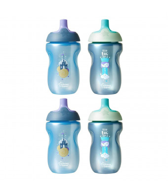 Tommee Tippee Spill-Proof Toddler Sportee Bottle Sippy Cup, 12+ Months, Boy- 10 Ounces, 4 Pack