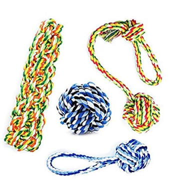 KELIFANG Dog Rope Toys, Dog Chew Toys, Rope Dog Toy, Rope Chew Toys, Durable and Washable Dog Toy Set for Medium Large Dogs (4 Packs)