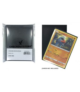 CheckOutStore (300) Protective Sleeves for Trading Cards (66 x 91 mm) (Matte Black)