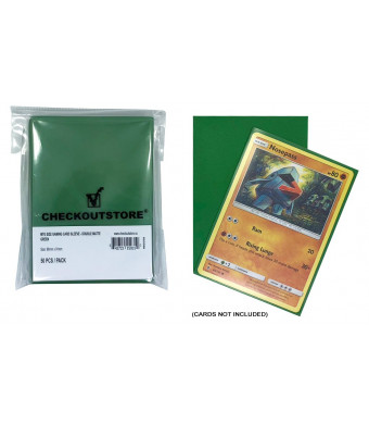 CheckOutStore (100) Protective Sleeves for Trading Cards (66 x 91 mm) (Double Matte Green)