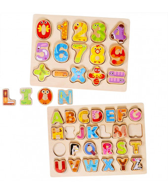 Lewo Wooden Puzzles Alphabet Number Board Games Learning Jigsaw Educational Toys for 1 2 3 4 5 Years Old Toddlers Baby Girls Boys