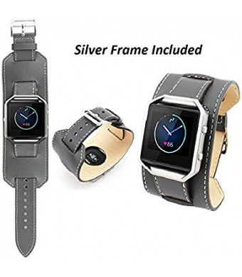 Fitbit Blaze Bands with Silver Frame, BESTeck Leather Replacement Accessories Wristband Watch strap for Fitbit Blaze Smart Fitness Watch (Gray)