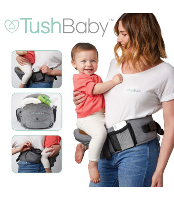 TushBaby The Only Safety Certified Hip Seat Baby Carrier - As Seen On Shark Tank - Adjustable, Machine Washable, Ergonomic Child + Infant + Toddler Carrier, Safe + Ultra-Comfortable Waist Carrier Grey