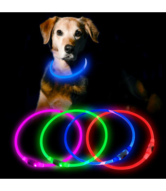 HiGuard LED Dog Collar USB Rechargeable Glowing Pet Collars Lighted Up Safety Necklace Glow in The Dark for You and Your Dogs
