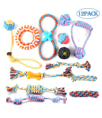 PetBemo Dog Rope Toy Dog - 12/3 Pack Pet Chew Toys Set for Medium to Large Dogs and Puppy, Puppy Teething Toys for Aggressive Chewers Assortment - Washable Cotton Rope for Dogs