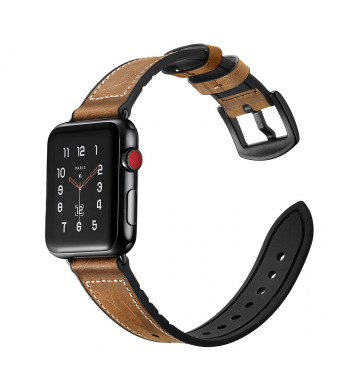 AKELI - Band 42mm with Case, Soft TPU Case with Retro Genuine Leather Band and Rubber Hybrid Sweatproof iWatch Replacement Strap for Apple Watch Series 3 2 1 Sport and Edition (Gray)
