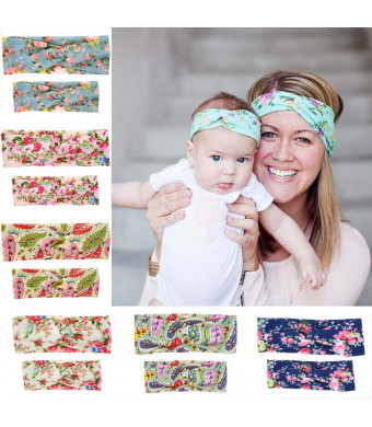 6/12 Pack Mommy and Me Headbands Hair Band Bow Knot Headbands Baby Hair Accessories Turban Baby and Mommy Cotton Headwrap Set