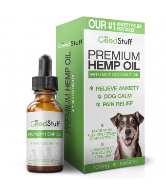 The Good Stuff Full Spectrum Hemp Oil for Dogs - 300mg / 30ml - Natural Organic Dog Calming Aid - Separation Anxiety Relief/Relieve Pain and Joint Inflammation in Canine Arthritis - Treats Seizures