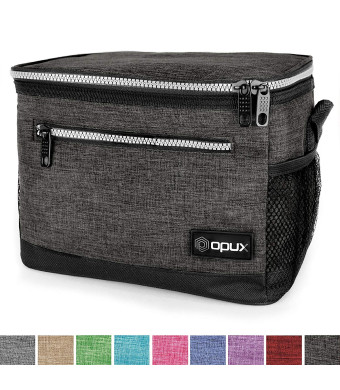 OPUX Premium Insulated Lunch Bag with Shoulder Strap | Lunch Box for Adults, Teens | Soft Leak Proof Liner | Medium Lunch Cooler for Office, School | Fits 6 Cans (Charcoal)