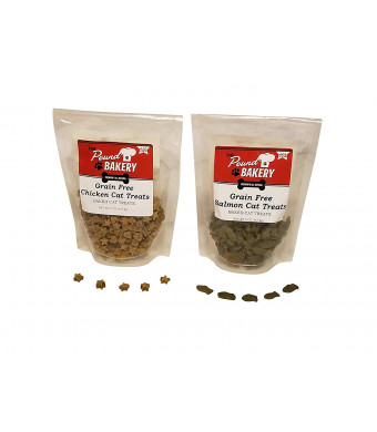 All Natural Grain Free Cat Snack Treats, Two 5 oz. Variety Pack with Chicken and Salmon Flavors Made in The USA
