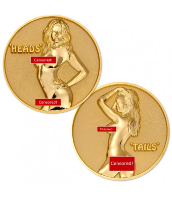 Female Heads or Tails Flip Challenge Coin