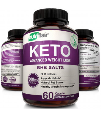 Keto Diet Pills - 800mg Advanced Weight Loss Ketosis Supplement - All-Natural BHB Salts Ketogenic Fat Burner Capsules - GMP-Sealed, Non-GMO Product - Ideal Weight Loss Supplements for Men and Women