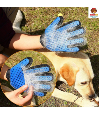 Pet Grooming Glove - Gentle Deshedding Brush Glove - Efficient Pet Hair Remover Mitt - Massage Tool with Enhanced Five Finger Design - Perfect for Dogs and Cats with Long and Short Fur,1 Pack (right-hand)