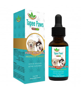 Tapee Paws Hemp Oil for Dogs and Cats 250 mg - Pain Relief, Calming, Fights Cancer, Remedies - Arthritis, Stress, Seizures, Muscle Spasms, Epilepsy, Separation Anxiety, Itching and Skin Allergies