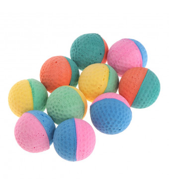 Forgun 10 Pcs Pet Toy Latex Balls Colorful Chew for Dogs Cats Puppy Kitten Soft Elastic