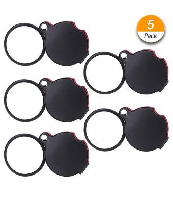 Dreamtop 5 Pack 10X Mini Magnifying Glass 50mm Folding Pocket Magnifier Loupe with Rotating Protective Holster for Reading Maps, Lables, Crafts