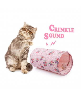 All for Paws Cat Crinkle Tunnels, Collapsible Cat Play Tunnel with Toy Ball