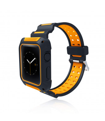 ARW Compatible for Apple Watch Bands 38mm 40mm 42mm 44mm,Soft Silicone Replacement Wristband Compatible for iWatch Apple Watch Series 1/2/3/4 Edition (Black/Yellow)