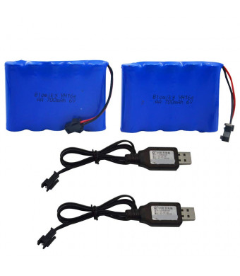 Blomiky 2 Pack 6.0V 700mAh NiCD AA Rechargeable Battery Pack and 6V USB Charger Cable Fit for 11 Channel RC Excavator RC Truck Amphibious Stunt RC Cars Vehicles 6V 700mAH and USB 2