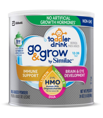 Go and Grow by Similac Toddler Drink with 2'-FL HMO for Immune Support, Non-GMO, Powder, 24 oz